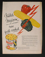 1956 Niblets Mexicorn Corn Vintage Kitchen~Green Giants Food Color Print Ad