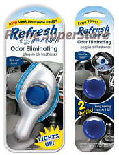 New Refresh Your Car Refillable Power Plug-In Air Freshener Odors Eliminator LED