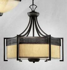"Iron Hardware Large 24"" Drum Pendant Chandelier, NIB Remodel Restoration $1200"