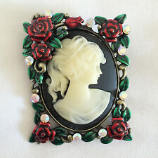 New Rectangle Flower Lady Vintage Style Cameo Brooch Pin Wedding Party BR1201