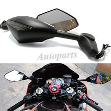 Motorcycle Rear View Side Racing Mirrors LED Turn Signal Intergated For Honda US