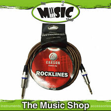 New Carson Rocklines 20ft Vintage Tweed Braided Guitar Cable, 6m Instrument Lead