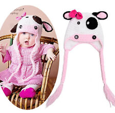 Baby Xmas Pink White Cow Beanie Crochet Long Tail Warm  Hat Knit Photo Prop Cap