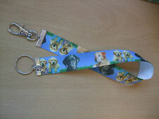 Handmade Labrador Bag Key Finder Charm Ribbon Long Fob Ring Dog Pup Love Blue