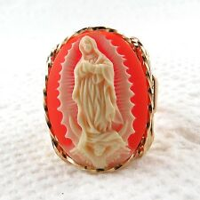 Virgin Of Guadalupe Orange Resin Cameo Ring 14K Rolled Gold Jewelry Art Any Size