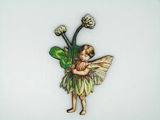 FLOWER FAIRIES THE WHITE CLOVER FAIRY COLOURFUL WOODEN BROOCH PIN