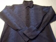 Ben Sherman LARGE Men's Dress Shirt Two Tone Navy Embossed Floral French Cuffs