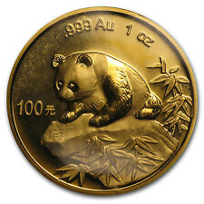 1999 1 oz Gold Chinese Panda Coin - Large Date - No Serif - Sealed in Plastic