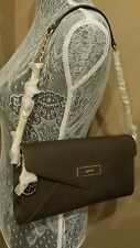 DKNY Envelope Clutch Dark  Khaki  Saffiano Crossbody Shoulder Date Bag