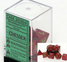 Polyhedral 7-Die Chessex Dice Set - Speckled Strawberry