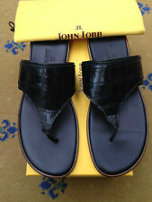 New John Lobb Mens Shoes Sandals Flip Flop Black Leather UK 9 US 10 43 RRP £1200