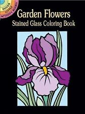 Garden Flowers Stained Glass Coloring Book Girls Kids Adults Activity Gift