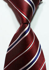 New Classic Dark Red White Blue  Striped JACQUARD WOVEN Silk Men's Tie Necktie