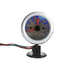 "Tachometer Tach Gauge + Holder Cup for Auto Car 2"" 52mm 0-8000 RPM Blue Light"