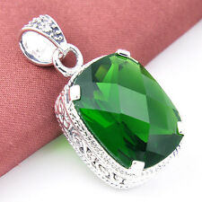 Great Woman Jewelry Gift Olive Peridot Gemstone Vintage Silver Necklace Pendants