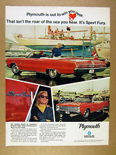 1967 Plymouth Sport Fury Convertible red car yacht photo vintage print Ad