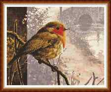 "'ROBIN BY THE RIVER' Cross Stitch Chart/Pattern (12½""x10"") Christmas/Bird NEW"