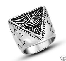 #10 Stainless Steel Ring Illuminati The All-Seeing-Eye Illunati Pyramid Symbol
