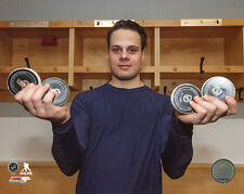 Auston Matthews Toronto Maple Leafs 4 Pucks Four Goals First NHL Game 8x10 Photo