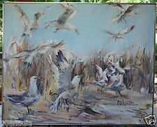 VINTAGE CANVAS OIL PAINTING SEAGULL BIRDS MODERNIST SIGNED CWILSON OR C WILSON