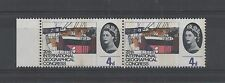 GB 1964 Geographical 4d Phos Narrow Band at left horizontal pair WP47a UM FP5743