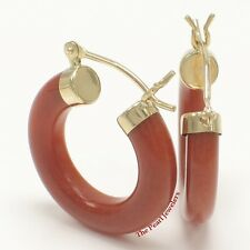 TPJ 14k Solid Yellow Gold Hook Earrings Made of Red Jade 4 x 20 mm Tube Ring