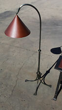 INDUSTRIAL AGE METAL ART FLOOR LAMP WITH COPPER SHADE SIGNED BERNARD COLLIN