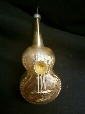 Vintage Gold Blown Glass Guitar Ornament