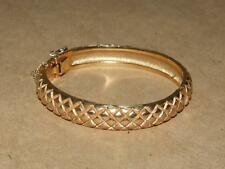 VTG Crown Trifari Goldtone Textured Faux Snake Skin Hinged Bangle Bracelet 6.75""