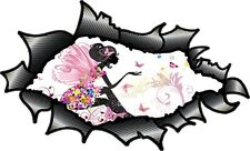 Carbon Fibre Fiber Ripped Open Torn Metal Fairy Princess & Butterfly car sticker