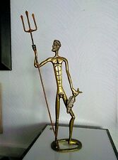 POSEIDON NEPTUNE GREEK GOD OF THE SEA 100% BRASS AND COPPER HOLDING TRIDENT