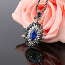 Antique Jewelry Marquise Rhinestone Tibetan Silver Plated Pendant Necklace