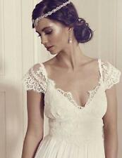 Vintage Wedding Dresses V Neck Sleeve Princess Lace Boho Bridal Gown Custom