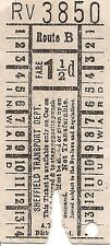 Bell Punch Ticket - Sheffield Transport Department - 1½d. Route B