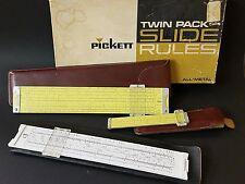 """Vintage Pickett N3/N600 Twin All-Metal Slide Rules Dual Base Log/Log 6"""" & 10"""""""