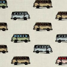 Vintage Scrapbook Mini Vans VW Bus Volkswagen Van Tan Cotton Fabric Fat Quarter