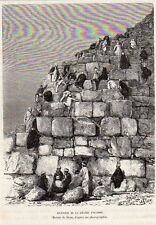 ASCENSION GRANDE PYRAMIDE CLIMBING A PYRAMID EGYPT EGYPTE IMAGE 1885 PRINT