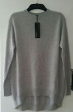 M&S Autograph pure cashmere dipped hem grey jumper size 8