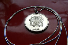 """Jamaica Proof Quality Big Coin Pendant on a 30"""" 925 Sterling Silver Snake Chain."""