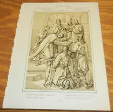 1863 Antique Print/CONVERSION OF THE ANGLO SAXONS TO CHRISTIANISM/ENGLAND in 597