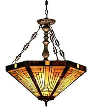 "Tiffany Style Stained Glass Mission 3 Light Inverted Pendant Lamp 22"" Shade"