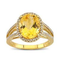 14K YELLOW GOLD PAVE DIAMOND CITRINE COCKTAIL ENGAGEMENT HALO RING