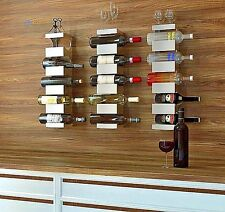 Wall Hanging Wine 5 Bottle Rack Storage Holder Wood Metal Rustic Kitchen Decor