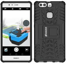 AMZER Dual Layer Hybrid Warrior Case Cover With Stand For Huawei P9 Plus - Black