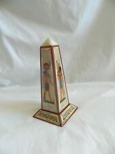 Egyptian Wooden Obelisk Inlaid With Papyrus Paper Pharaoh Hieroglphic 6.5""