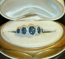 Chuck clemency NYCII Diamond treasures Blue Pave cluster Halo style Band Ring