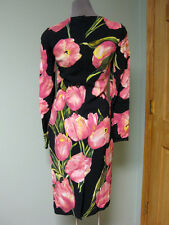Dolce & Gabbana AUTH NWT Pink Tulip Blooms Cady Sheath Dress 50 Long Sleeves