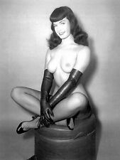 1960s Bettie Page Nude on hassock legs crossed in fishnets 8 x 10 Photograph