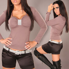 NEW SEXY LONG SLEEVE SHIRT TOP PADDED CUPS RHINESTONES 6 8 10 ~ CAPPUCCINO BROWN