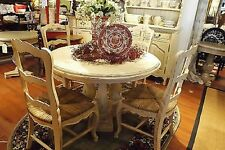 """French Country Column Dining 48"""" Round Dining Table Off White Distressed"""